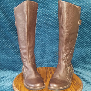Clarks Leather Knee High Flat Bottom Boots Size 8M